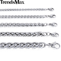 Trendsmax Customized Any Length 3/4/5/6/8/10mm Wide Wheat Link Silver Color Stainless Steel Chain Mens Necklace Jewelry KNM11