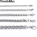 Trendsmax personalizar cualquier longitud 3/4/5/6/8/10mm de ancho enlace plata de trigo color de cadena de acero inoxidable para hombre collar de la joyería knm11