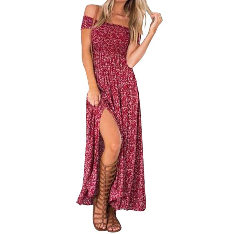 2017 Summer Women's Vintage Dress Floral Print Off Shoulder Split Tube Long Party Maxi Dress Beach Dresses 3 Color S4