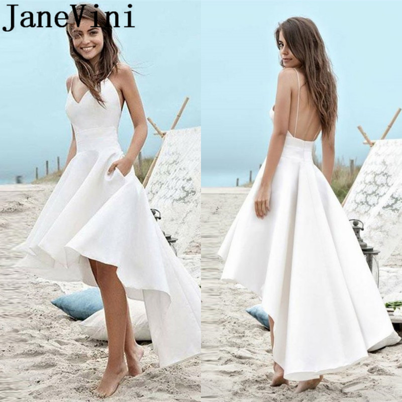 JaneVini High Low Beach Wedding <font><b>Dress</b></font> 2019 Boho Backless Bride <font><b>Dresses</b></font> <font><b>Sexy</b></font> V-Neck Vestido Short Front Long Back Bridal Gowns image