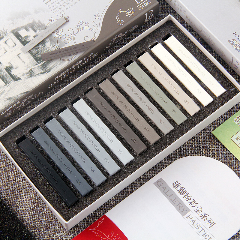 12 Colors Set Soft Hand Pastel Stick Crayons Painting Stick Black White Grey  Drawing For Sketch Art Materials