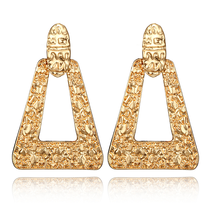 Tocona Hyperbole Triangle Metal Drop Earrings Gold Alloy Dangle Earring Brincos for Women Jewelry Accessories 5114