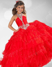 Little Girl Pageant Dresses Off The Shoulder Red Organza Lace Up Kids Party Gown Beading Crystal Gowns Ruffle Dress CH-1227