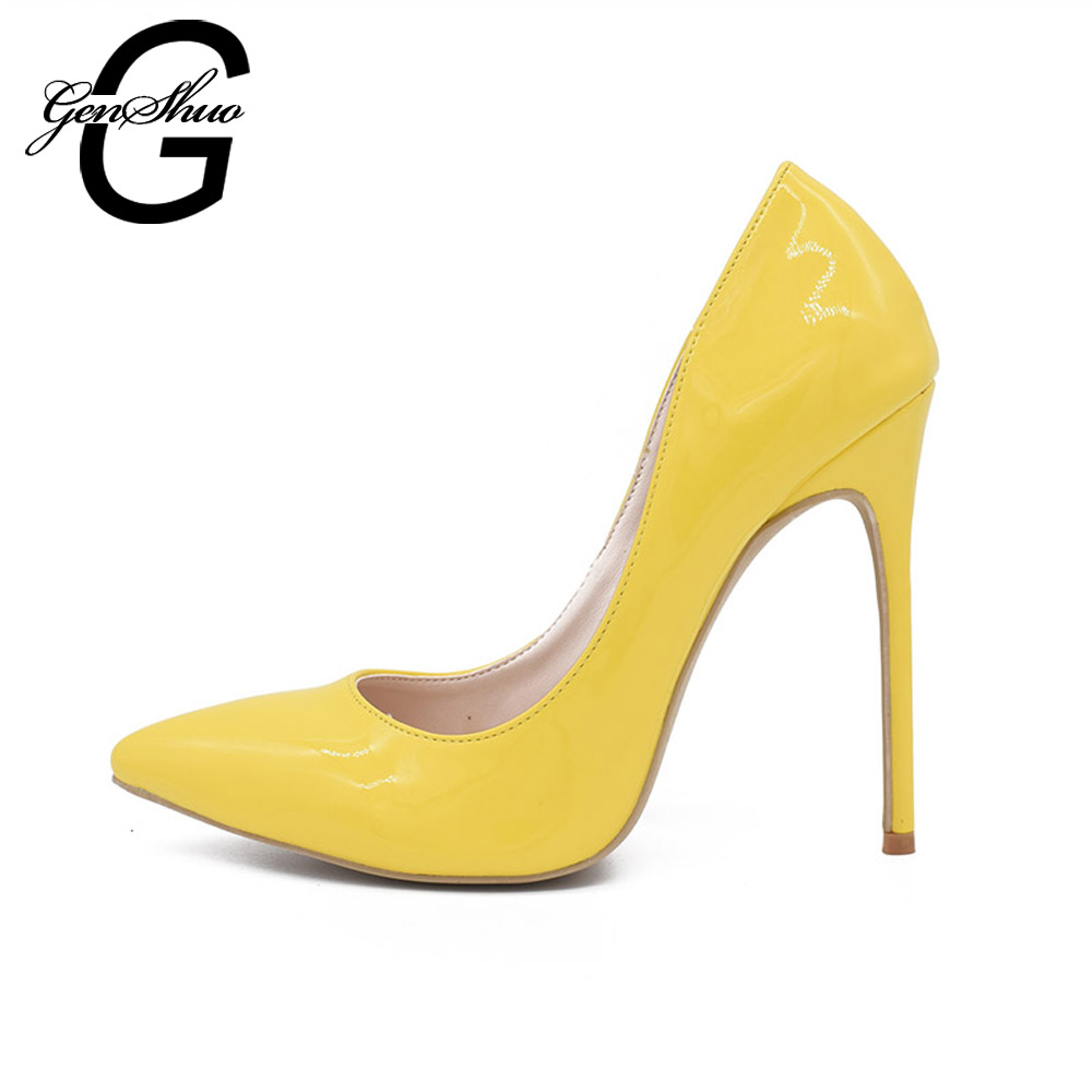genshuo sexy pointed toe patent leahter 8 10 12cm yellow high heels pumps shoes 2017 women heels shoes wedding shoes 35 41