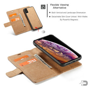 Image 4 - WHATIF Kraft Paper Leather Flip Cases for iPhone 6 s 7 8 plus 2 in 1 Detachable Case for iPhone 11 Pro X Xr Xs Max Wallet Case