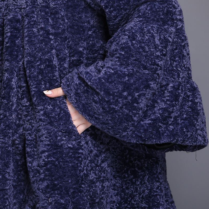 Nerazzurri Luxury runway faux fur coat woman full shirt flare sleeve fluffy faux shearling jacket plus size outwear 5xl 6xl 7xl