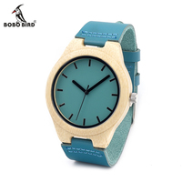 Fathers Day Gift Bamboo Wooden Watch Mens Top Luxury Band Quartz Watch With Blue Leather Band