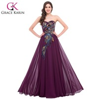 Popular Grace Karin Elegant Peacock Prom Dresses Long Blue Black Purple Navy Blue Long Evening Gown