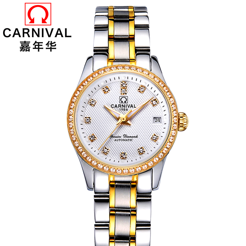 CARNIVAL luxury Automatic Watch Women Fashion Mechanical watches women Calendar Lumious Waterproof Steel Band Relogio femeninoCARNIVAL luxury Automatic Watch Women Fashion Mechanical watches women Calendar Lumious Waterproof Steel Band Relogio femenino
