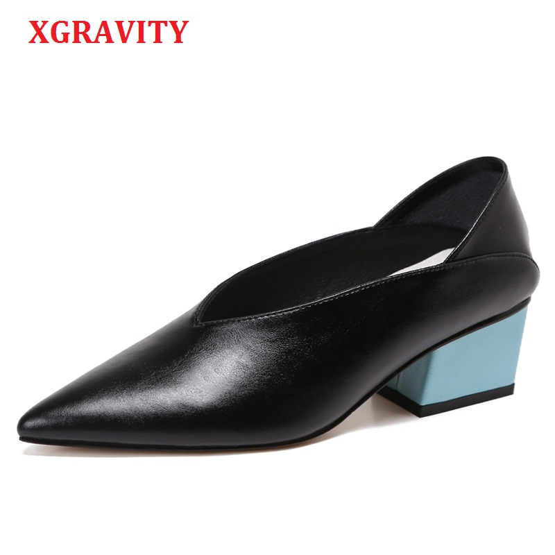 XGRAVITY Hot European American Genuine Leather Chunky Abnormal Mid-Heeled Women Shoes Pointed Toe Dress Sexy V Design Shoes A023 2017the mostfashion trends european and american brands genuine flowers ladies luxury short shoes club sexy women s shoes