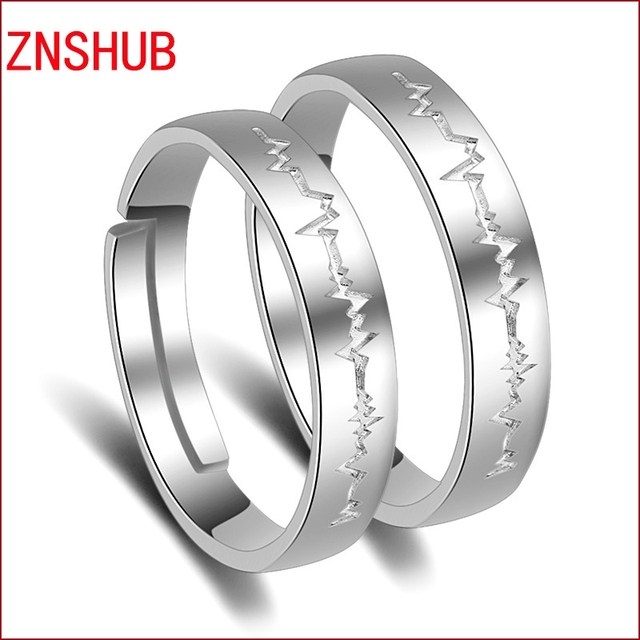 dd942d8eeabc8 US $6.2 |Fashion 925 Sterling Silver Couple Rings Romantic Wedding Bands  Promise Ring For Men And Women Open Adjustable Jewelry Wholesale-in Rings  ...