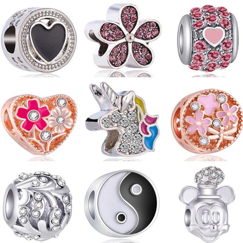 Beads Fit Charms-Bracelets Wings Unicorn Flowers Cross-Pendants Fresh-Style Bowknot Owl
