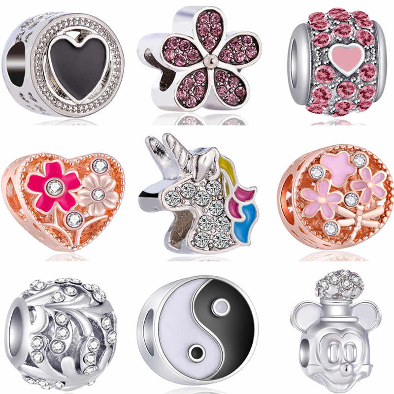 Fresh Style Hollow Bowknot Flowers Unicorn Wings Owl Cross Pendants Beads Fit Pandora Charms Bracelets & Bangles for Women DIY