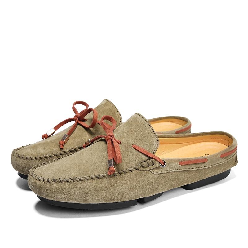 Pantoufles black Suédé 2018 Respirant Skor Shoes Marque En Pour Cuir Lacent Chaussures D'été De Gray Men Jkpudun Men Luxe Mocassins Men khaki Demi Hommes FxwqRS06