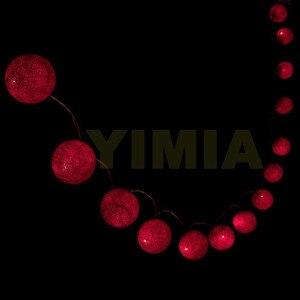 Image 3 - 5 m 50 Vermelho Bolas de Algodão Fada LED String Luzes Do Feriado das Luzes de Natal Guirlandas AC Alimentado Por Bateria Em Casa Decoração do casamento 116