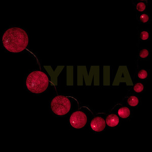 Image 3 - 5m 50 Red Cotton Balls LED String Fairy Lights Christmas Holiday Lights Garlands AC  Battery Powered Home wedding Decoration 116