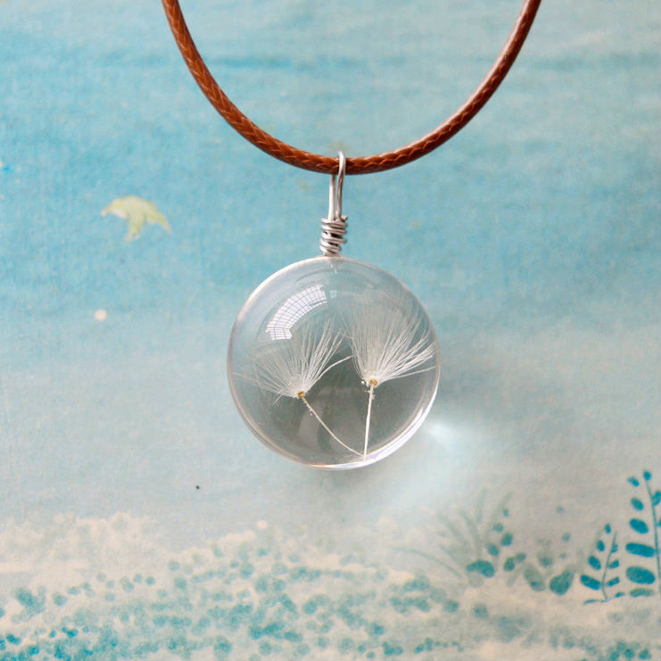Hot natural dandelion seed jewelry pendant crystal glass ball welcome to sherrys shop we are wholesaler and retailer in fashion jewelry wed like to do business with friends from world big or small aloadofball Choice Image