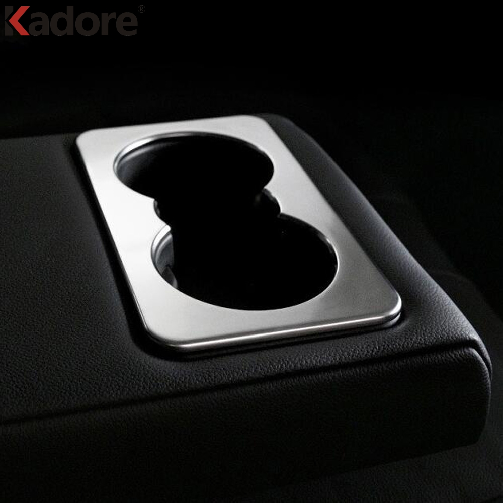 For Jaguar F-PACE 2016 2017 2018 Rear Armrest Water Cup Holder Bottle Cover Organizer Interior Molding ABS Matte Car Accessories