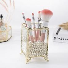 Ins Nordic Makeup Brush Storage Bucket Eyebrow Pencil Beauty Box Desktop Glass Dust-free Cover Tube