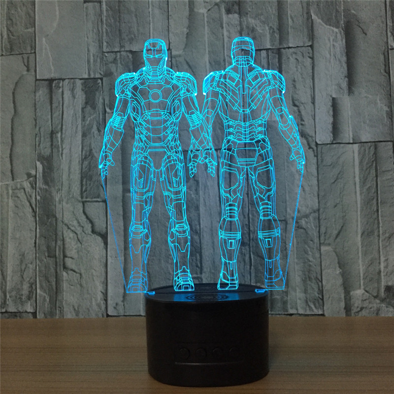 Avengers With LED Light Stereo Iron Man 3D Table Lamp Colorful Veilleuses Pour Enfants Engraved Craft Home Decorations S622