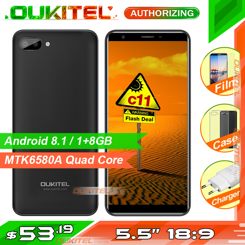 Oukitel C11 5.5 pouces 18:9 Smartphone Android 8.1 1 GB + 8 GB MTK6580A Quad Core 5MP + 2MP/2MP 3400 mAh batterie téléphone portable