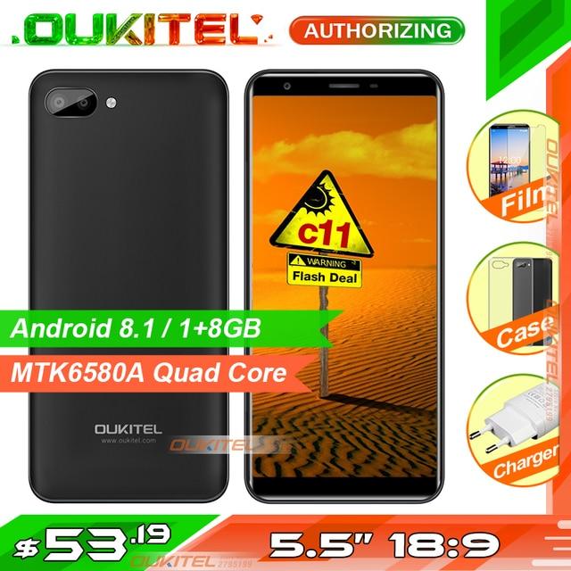 Oukitel C11 5,5 pulgadas 18:9 Smartphone Android 8,1 1 GB + 8 GB MTK6580A Quad Core 5MP + 2MP/ 2MP 3400 mAh batería teléfono móvil