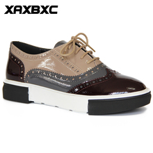 XAXBXC Retro British Style Leather Brogues Oxfords Flat Women Shoes Lace Up Patent Leather Round Toe Handmade Casual Lady Shoes