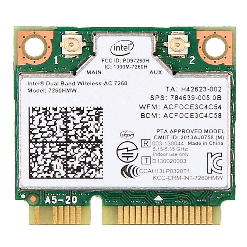 New Dual Band Wireless-Ac 7260 Intel 7260Hmw 7260Ac 2.4G/5Ghz 802.11Ac Mini Pci-E 2X2 Wifi Card + Bluetooth 4.0 Wlan Adapter