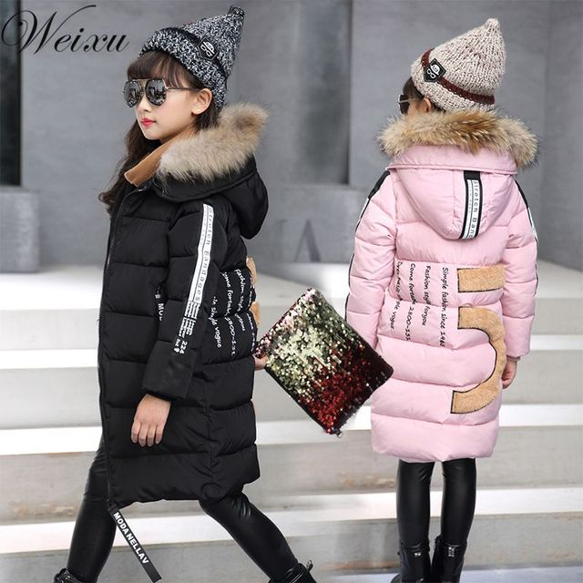 Weixu Fashion Down Winter Girls Coat Kids Black Hooded Letter Parka Jackets Coats Thick Warm Children's Outerwear Coats Clothes