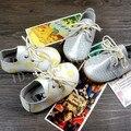 Suela dura colores Mezclados puntos guinga Cuero Genuino zapatos de bebé Primeros Caminante del niño del bebé mocasines con cordones zapatos infantiles