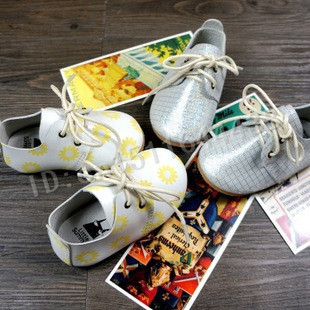 hard sole Mixed colors spots gingham Genuine Leather baby shoes First Walkers toddler baby moccasins Lace-up infant shoes