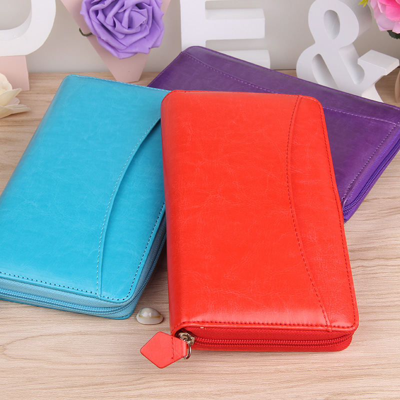 A6PU leather zipper notebook bag multi-function ring spiral business notebook School/office stationery Filofax Traveler Notebook like a virgin secrets they won t teach you at business school