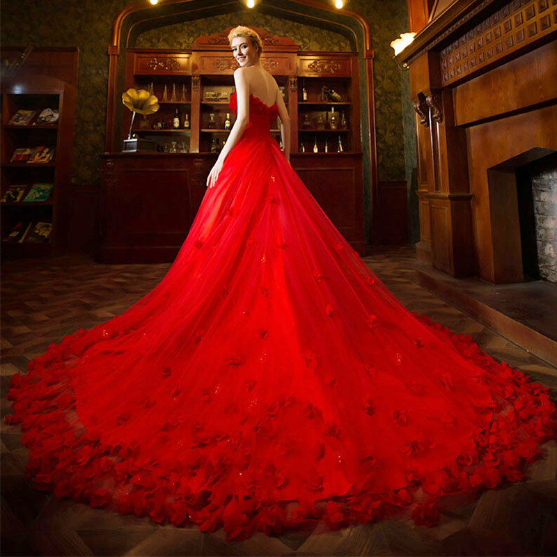 New arrival red wedding dresses 2015 sleeveless sweetheart for High low ball gown wedding dress