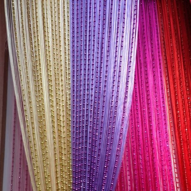 Many Color Straight Line Vertical Thread Beads Curtains For Living Room String Curtain Door Cortinas Para Sala De Estar In From Home