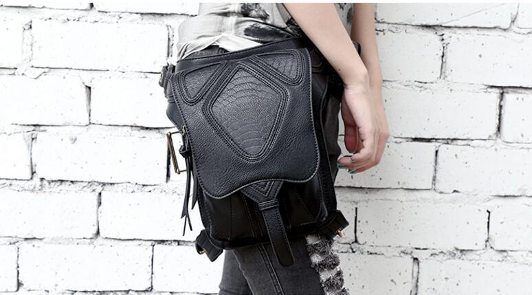 Black Cool Gothic Steampunk Retro Rock Women Shoulder Bag Waist Pack Pocket Purse Wallet Handbag