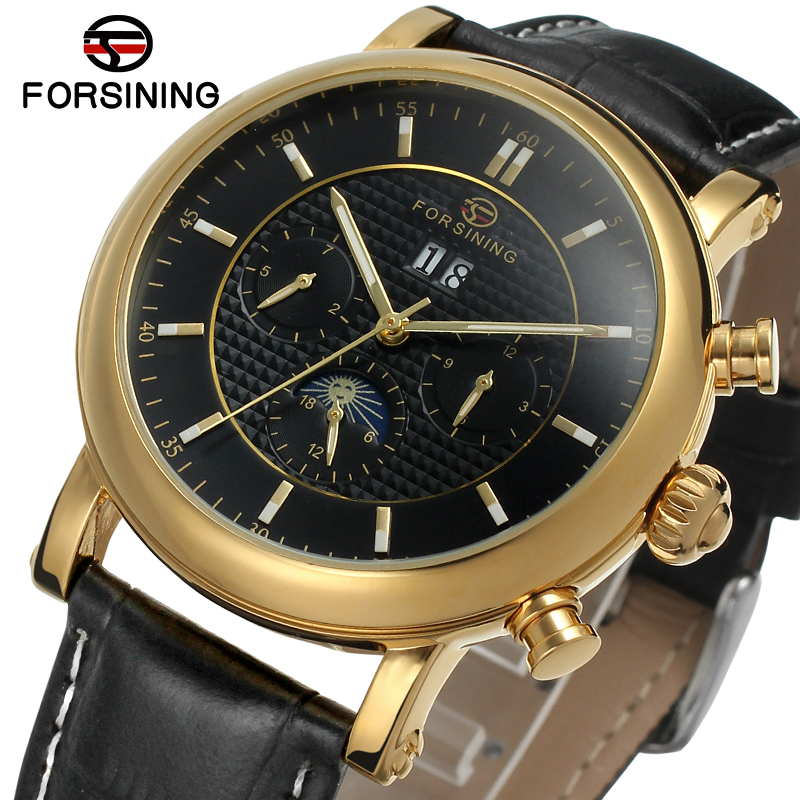 FSG553M3G2 luxury new arrival Automatic men watch black genuine leather strap with moon phase free shipping with gift box цена