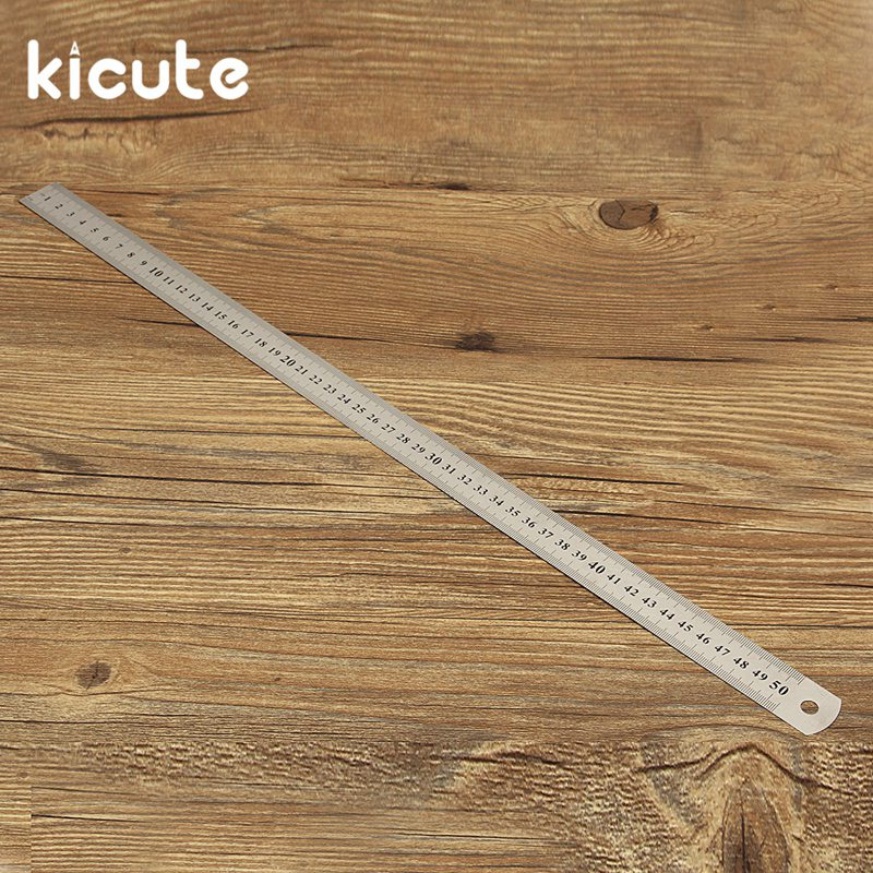 Kicute 1pcs 50cm Standard Measuring Tool Double Side Scale Stainless Steel Straight Ruler High Quality School Office Supplies