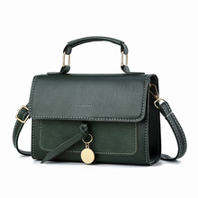 Solid color vintage small women bag  high quality  messenger bag Simple Fashion crossbody bags for women  Leather Handbag Flap brown bag high quality leather messenger bags brand fashion design cross body flap box handbag black green white color