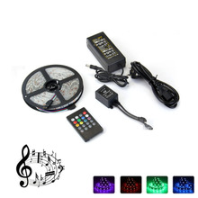 LED strip 5050 RGB with Music controller 20Key RF Remote 5M Flexible Light Home KTV Bar Lighting Set rgb 45w led fiber optic engine 20key rf remote controller can be fixed in 8 colors six color change mode with flicker effect