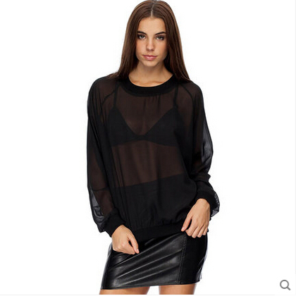 Sexy Transparent Women Black Chiffon Shirt Long Lantern Sleeve ...