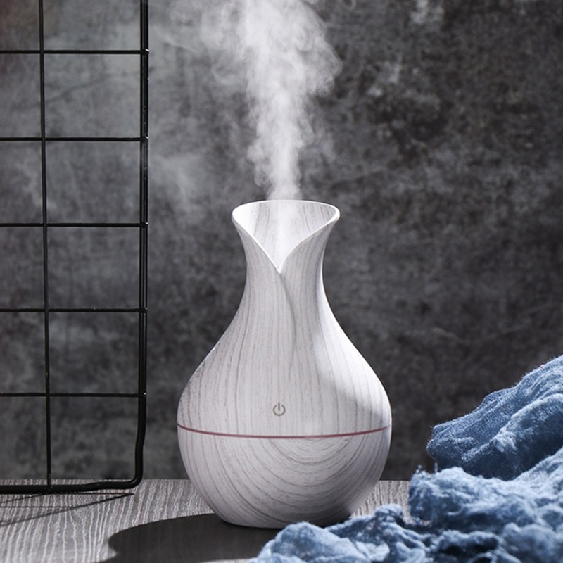 USB Aroma Oil Diffuser White Grain Electric Humidifier Ultrasonic Air Humidifier Aromatherapy LEDlight Mist Maker For Home