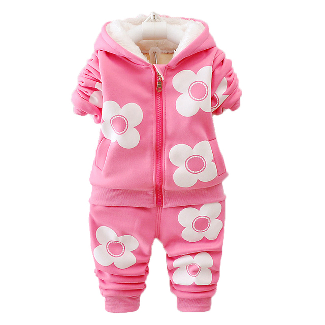 7956a8f55 2018 Winter Baby Girls Clothing Sets Baby Velvet Warm Hooded Jackets ...
