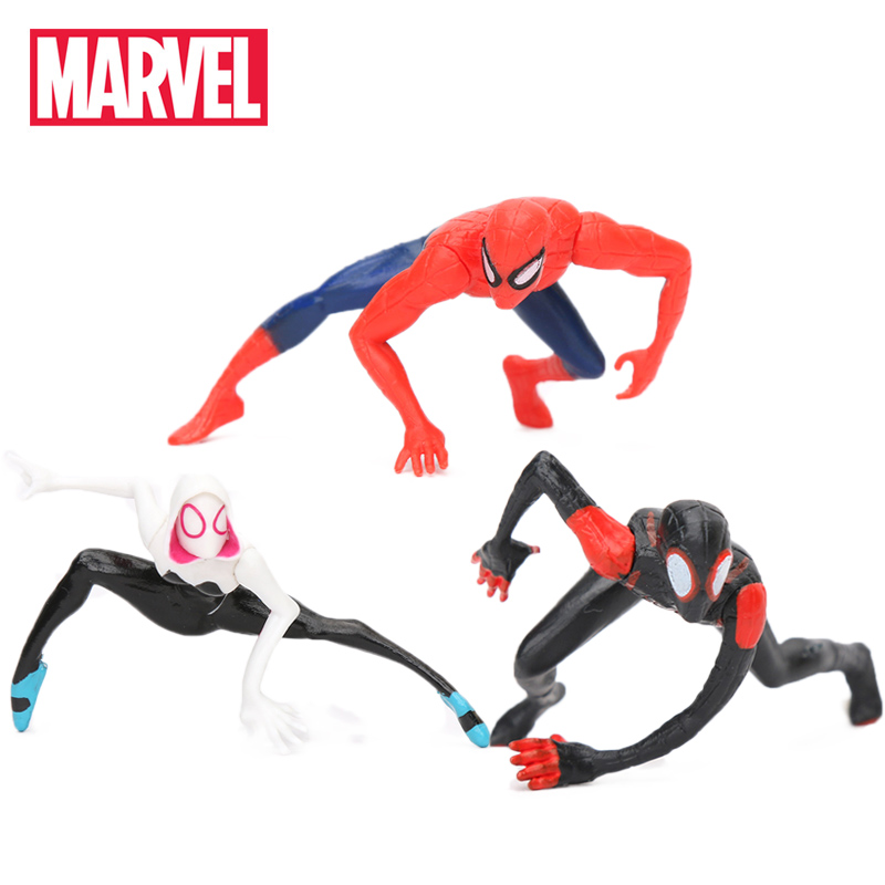 3pcs 4-5CM Marvel Toys Mini Spider-Man Homecoming Spiderman Figure Spider-Gwen Miles Morales Peter Parker PVC Action Figures(China)