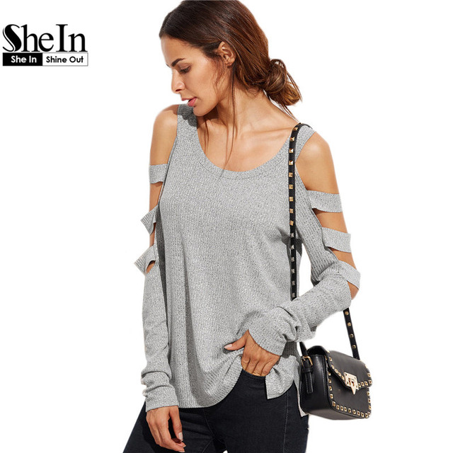SheIn Grey T Shirt Women Long Sleeve Cold Shoulder Tops 2016 Autumn Loose Tees Sexy Ladies Round Neck Cut Out T-shirt
