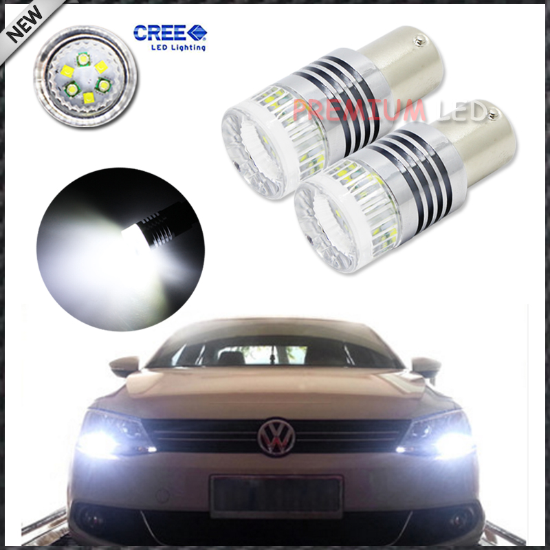 Error Free 1200 Lumens Super Bright CRE'E Chipsets 1156 BA15s P21W LED Bulbs for Volkswagen MK6 Jetta Daytime Running Lights 2 x 1156 for cree chips no error car led bulbs daytime running lights bulb for vw volkswagen jetta mk6 scirocco sharan seat