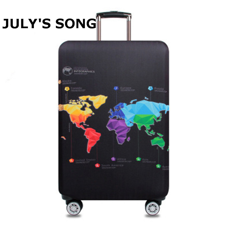 JULY'S SONG World Map Elastic Thick Luggage Cover For Trunk Case Apply 18''-32'' Suitcase Protective Cover Travel Accessory