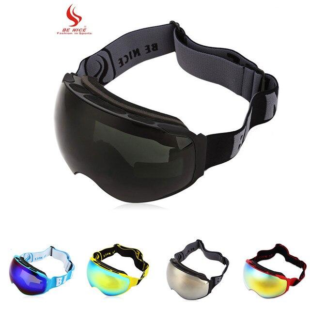 ffcaf4c9f84b UV Protection Anti-fog Big Skiing Goggles Mask Men Women Snowboarding  Glasses Skiing Eyewear PC and UV TPU frame Black Color
