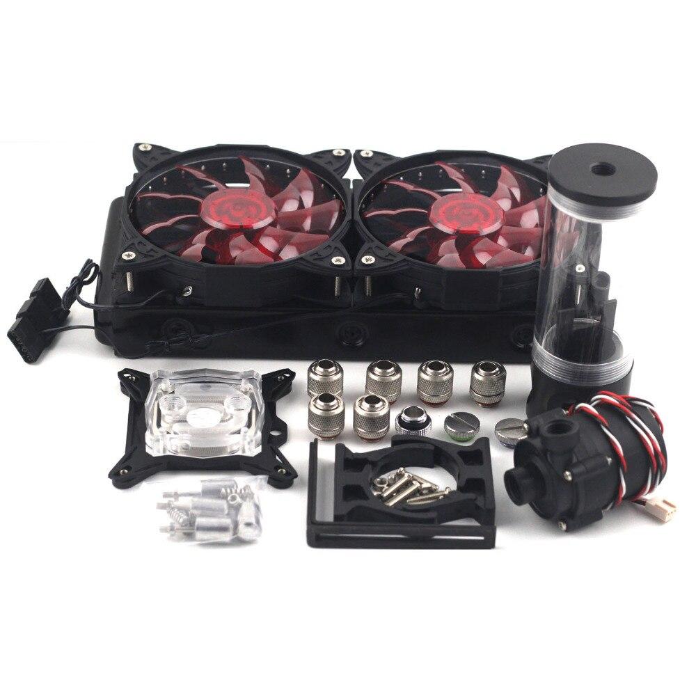 Ordinateur refroidissement par eau G1/4 240 p Auminum radiateur 110 140 190 240mm réservoir d'eau sc600B pompe refroidissement par eau kits set 12 cm LED ventilateurs