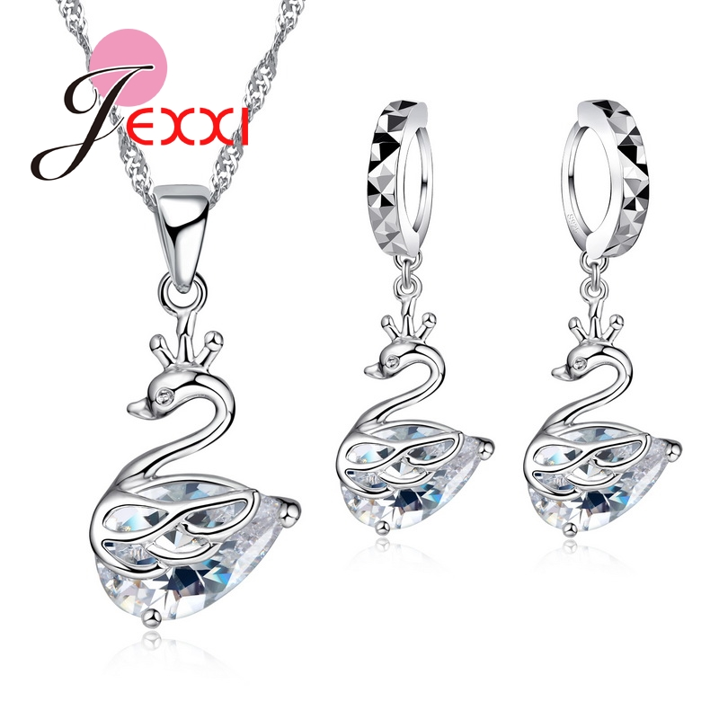 Women Wedding Jewelry Sets 925 Sterling Silver Cubic Zircoina  Necklace Cute Animal Drop Earrings Charms Bride Bijoux