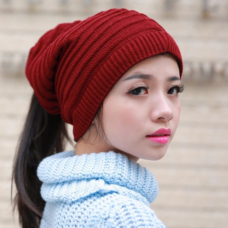 f451c5689 US $7.99 20% OFF|2019 Fashion New Skullies Beanies Warm Caps Female Knitted  Stylish Hat Ponytail Beanie Winter Hats For Women Crochet Knit Cap-in ...
